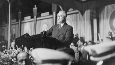 """June 27, 1936: President Franklin D. Roosevelt declares war on """"Princes of Privilege"""" during his speech accepting the Democratic presidential nomination at Franklin Field in Philadelphia before an audience of more than 100,000. Roosevelt pledged a battle to the finish to wrestle the freedom of the nation from """"royalists of the economic dynasties."""""""