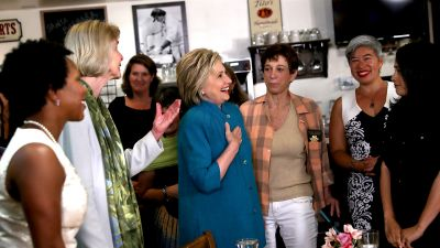 Democratic presidential candidate and former Secretary of State Hillary Clinton greets supporters during a conversation with women and families at Jill's Place on June 4, 2016 in Santa Barbara, California. (Photo by Justin Sullivan/Getty Images)