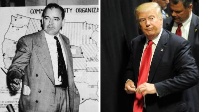 Right: Joseph McCarthy (Photo by Getty Images); Left: Donald Trump (Photo by Gerardo Mora/Getty Images)