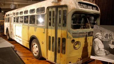 The Dec. 1, 1955 arrest of Rosa Parks on this Montgomery, Alabama bus after she refused to give up her seat to a white person launched the civil rights movement. The bus is now on display at the Henry Ford Museum in Dearborn, Michigan. (Photo by Jeff Kowalsky/AFP/Getty Images)