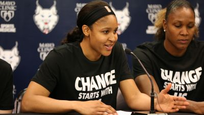 Maya Moore (#23) and Rebekkah Brunson (#32) of the Minnesota Lynx attend a press conference before the game against the Dallas Wings on July 9, 2016 at Target Center in Minneapolis, Minnesota. (Photo by David Sherman/NBAE via Getty Images Copyright 2016 NBAE)
