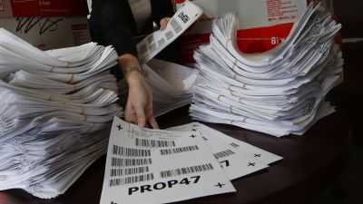 The deputy district attorney with the County of San Diego with 4,800 petitions for Proposition 47, which addresses re-sentencing from convicted criminals in custody. (Photo by Don Bartletti/Los Angeles Times via Getty Images)