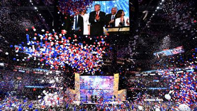 Balloons fall after Republican presidential candidate Donald Trump spoke and accepted the party nomination on the last day of the Republican National Convention on July 21, 2016, in Cleveland. (Photo by Jim Watson/AFP/Getty Images)