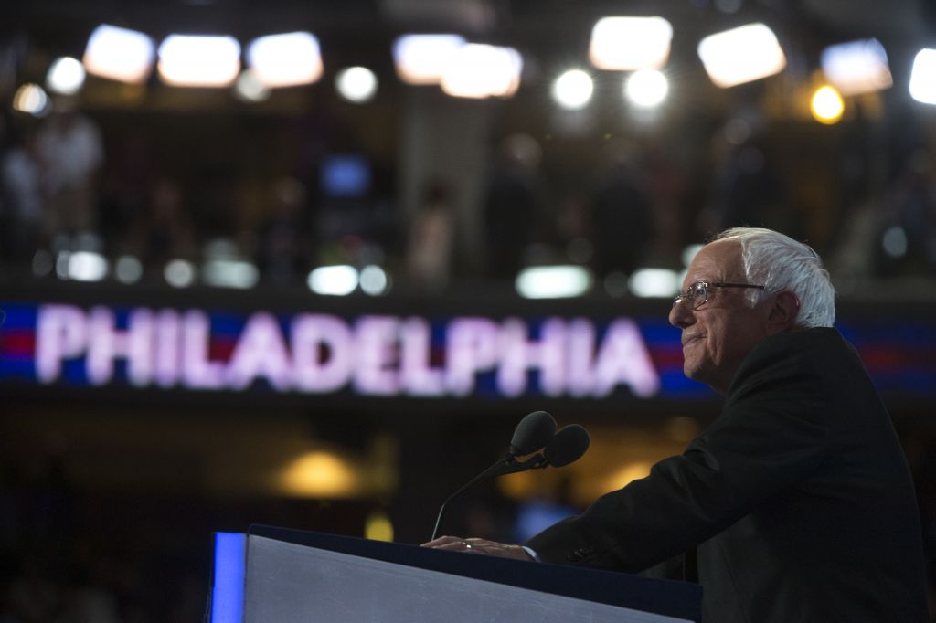 Sen. Bernie Sanders (I-VT) addresses the crowd at the Wells Fargo Center in Philadelphia on the first day of the Democratic National Convention, July 25, 2016. (Photo By Tom Williams/CQ Roll Call)