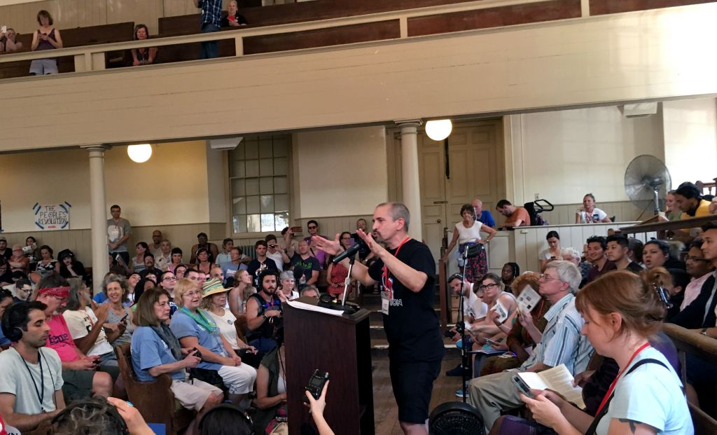 "Jack ""Jackrabbit"" Pollack addressing the People's Convention. (Photo: John Light)"