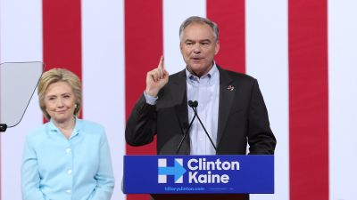 Democratic presidential candidate Hillary Clinton introduced her running mate, Sen. Tim Kaine (D-VA), at a Miami rally over the weekend. (Photo by Alexander Tamargo/WireImage)