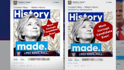 The latest dog-whistle images from Republican presidential candidate Donald Trump's Twitter feed. The original image is on the right; the one that replaced it is on the left. (Twitter)