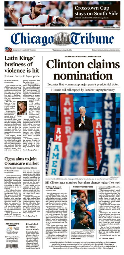 The front page of The Chicago Tribune on Wednesday, July 25, 2016.