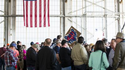 Republican presidential nominee Donald Trump drew an enthusiastic crowd to Youngstown Airport when he campaigned during the Ohio presidential primary in March. (Photo by Angelo Merendino/Getty Images)