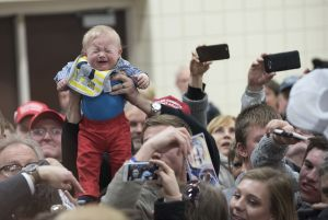Baby at Donald Trump rally in Iowa.