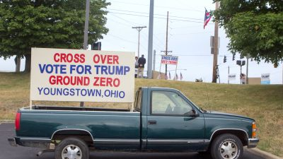 """Pick up truck with sign reading """"Cross Over Vote for Trump Ground Zero Youngstown Ohio"""""""