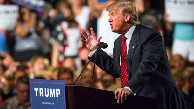 Donald Trump at Phoenix rally where he addressed immigration.