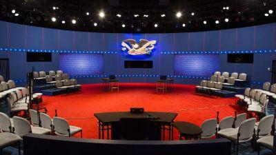 Debate stage at Hofstra University in 2012