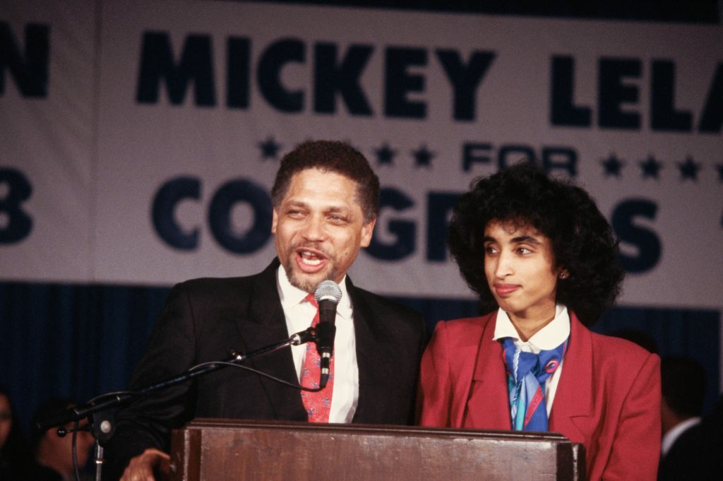 Texas congressman Mickey Leland, with his wife Alison, speaks at a combined rally for his re-election campaign and Jesse Jackson's 1988 presidential campaign. (Photo: Jacques M. Chenet/CORBIS/Corbis via Getty Images)