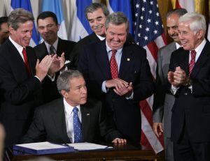 President Geoge W. Bush looks up afte