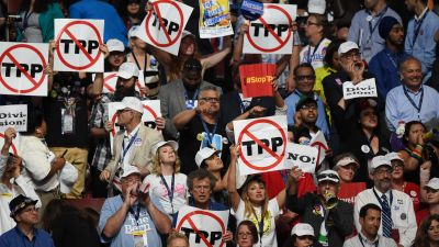 Anti TPP demonstration on the floor of the 2016 Democratic National Convention.