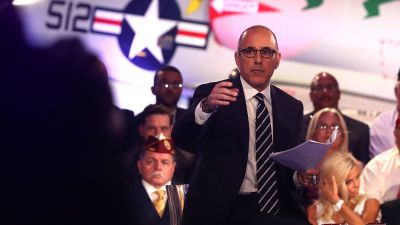 NBC host Matt Lauer took flak for failing to aggressively fact-check Donald Trump's statements at the Commander-in-Chief Forum on Sept. 7, 2016. (Photo by Justin Sullivan/Getty Images)