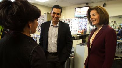 Democratic congressional candidates Ruben Kihuen and Catherine Cortez Masto meet with supporters at a hair salon in Las Vegas, Nevada on September 16, 2016. (Photo by Dalton Bennett/The Washington Post via Getty Images)