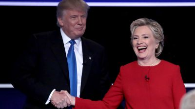 Republican presidential nominee Donald Trump and Democratic presidential nominee Hillary Clinton shake hands after the first presidential debate at Hofstra University on Sept. 26, 2016 in Hempstead, New York. (Photo by Drew Angerer/Getty Images)