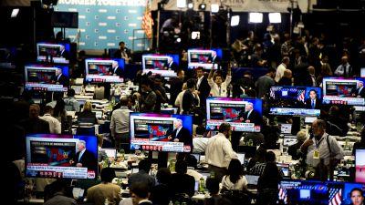 Media spin room, debate 2016