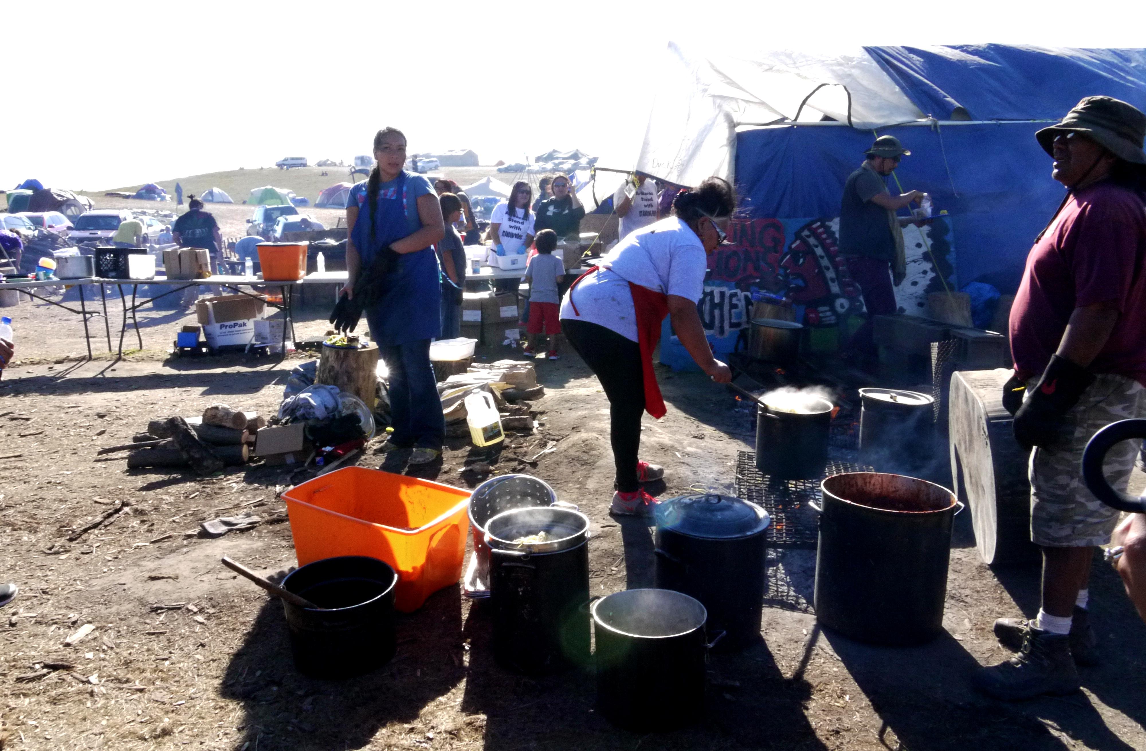 The kitchen at the Oceti Sakowin camp, Sept. 14, 2016. (Sarah Jaffe for BillMoyers.com)
