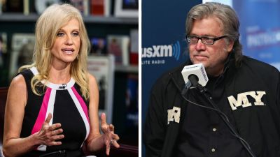 Kellyanne Conway (left) and Steve Bannon (right) were appointed to leadership positions in the Trump campaign after Donald Trump met with billionaire Robert Mercer. Both Conway and Bannon have run projects funded by Mercer. (Photo credits: Chris Goodney/Bloomberg via Getty Images; Cindy Ord/Getty Images for SiriusXM)