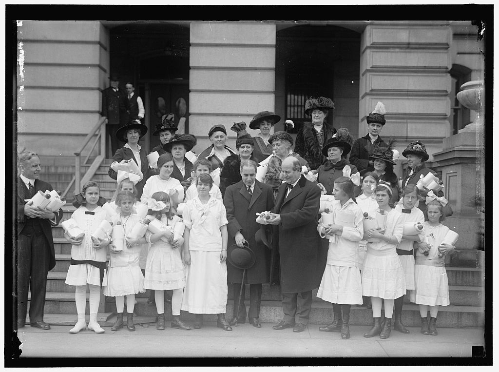 A petition for peace signed by 350,000 school children was presented to Secretary of State William Jennings Bryan in 1915  to send to the leaders of the warring European nations. (Library of Congress)