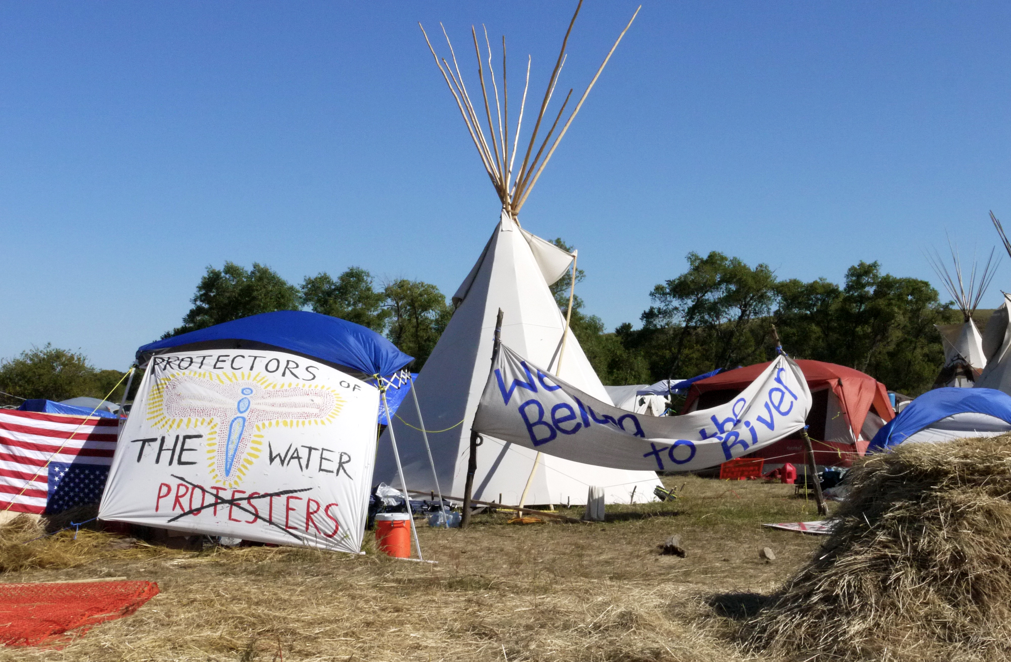 """A sign reading """"Protectors of the Water, not Protesters,"""" outside of the Red Warrior Camp, Sept. 14, 2016. (Sarah Jaffe for BillMoyers.com)"""