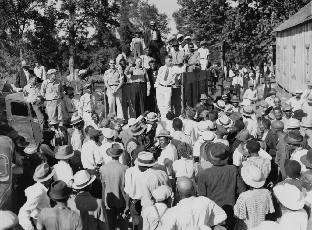 The Southern Tenant Farmers Union holds a meeting in East Arkansas, June 18, 1937. (Photo by Archive Photos/Getty Images)