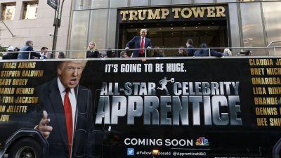 "Donald Trump atop a bus promoting his ""Celebrity Apprentice"" series"