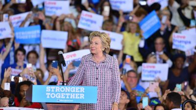 Democratic presidential candidate Hillary Clinton speaks during a campaign rally at Coral Springs Gymnasium on Sept. 30, 2016 in Coral Springs, Florida. (Photo by Johnny Louis/FilmMagic)