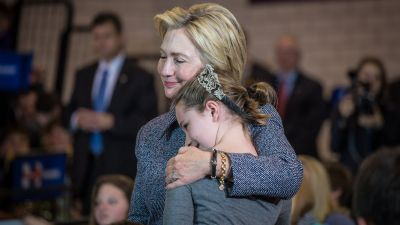 """On election night, Hillary Clinton's campaign tweeted a picture of her on the campaign trail with 11-year-old Iowan, Hannah Tandy. She had asked the candidate a question about whether she would do anything about bullying as president. She said she has asthma and some kids were """"talking behind her back."""" (Photo courtesy of HIllary Clinton Twitter feed)"""