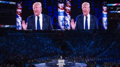 As a Republican presidential candidate, Donald Trump delivered an address to the American Israel Public Affairs Committee (AIPAC) Policy Conference in Washington, DC in March. (Photo by Jabin Botsford/The Washington Post via Getty Images)