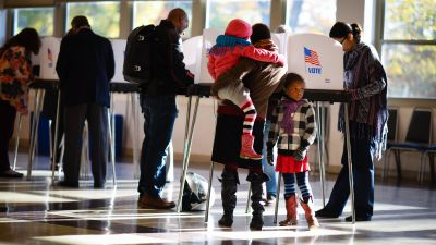 Residents of Montgomery County, Maryland cast their vote at Temple Emanuel in Kensington, Maryland on Tuesday November 8, 2016. (Sarah L. Voisin/The Washington Post via Getty Images)