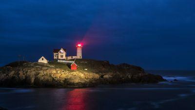 Nubble Lighthouse at night