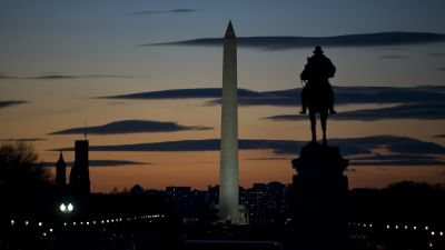 A view of the Washington Monument from the west lawn of the Capitol. (Photo By Tom Williams/Roll Call)