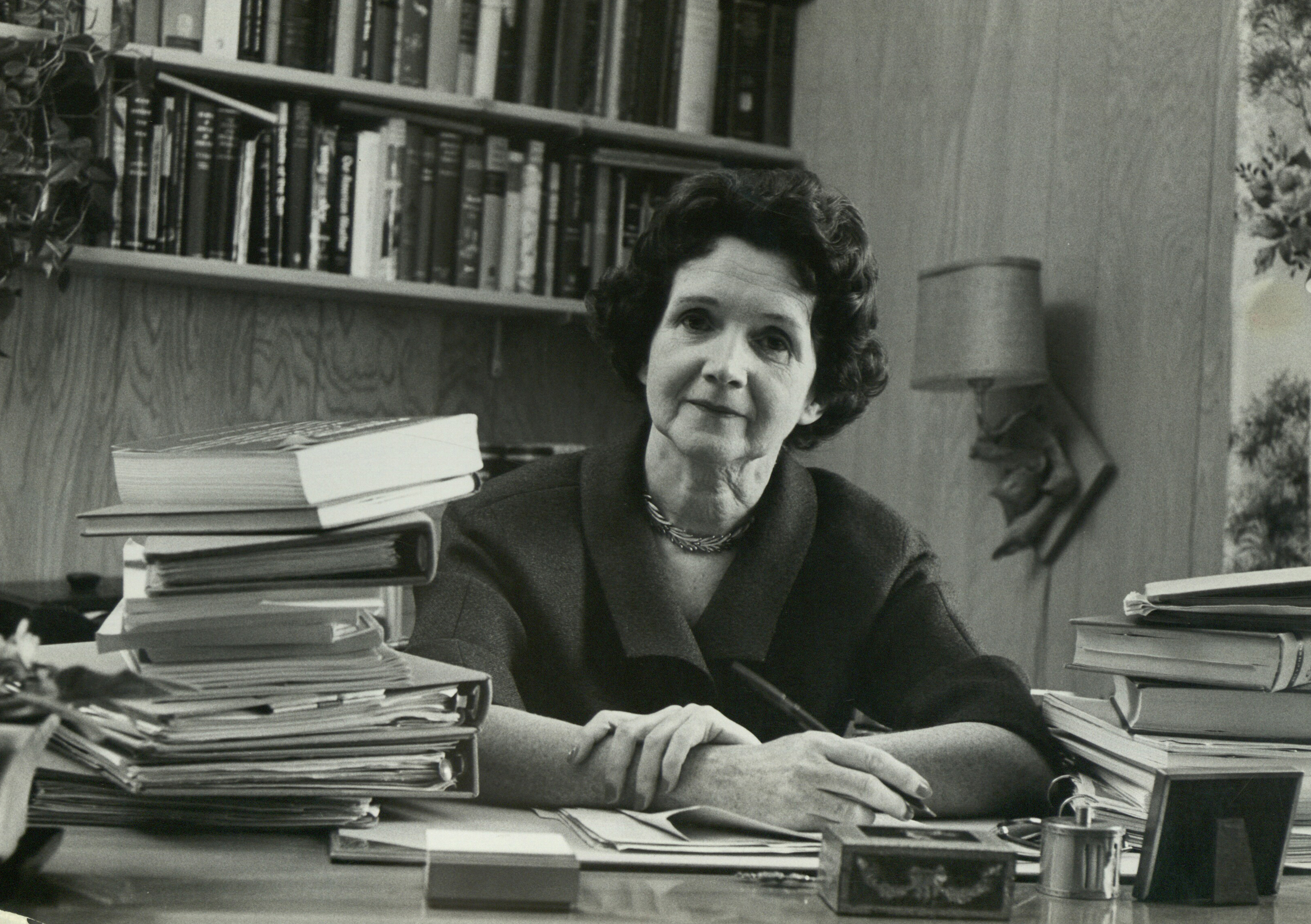Portrait of American marine biologist and conservationist Rachel Carson (1907-64) in her office in Maryland, August 1962. (Photo by Alfred Eisenstaedt/The LIFE Picture Collection/Getty Images)