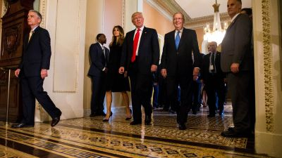President-elect Donald Trump leaves a meeting with Senate Majority Leader Mitch McConnell (R-KY), at right, at the US Capitol November 10, 2016 in Washington, DC. (Photo by Zach Gibson/Getty Images)