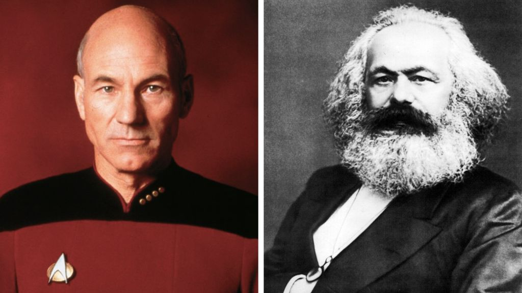 """Frase says his book was inspired by """"Star Trek: Next Generation"""" and Karl Marx.(Left: Promotional Image, CBS Worldwide, Right: John Jabez Edwin Mayall/Public Domain/Wikimedia Commons)"""