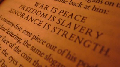 A page from George Orwell's 1984. (Photo by Jason Ilagan/ flickr CC 2.0)