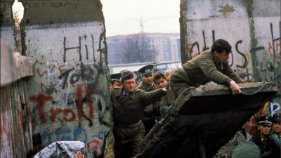 The Berlin Wall opening in Berlin, Germany in November 1989. (Photo by Patrick PIEL/Gamma-Rapho via Getty Images)
