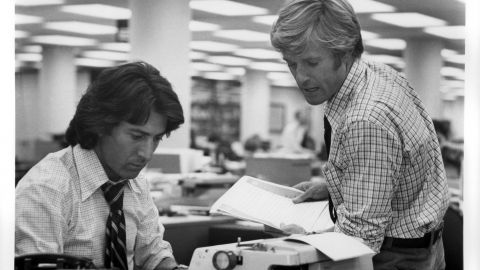 Dustin Hoffman and Robert Redford as The Washington Post's Carl Bernstein and Bob Woodward in the 1976 film All the President's Men. (Photo by Warner Bros. Inc./Getty Images)