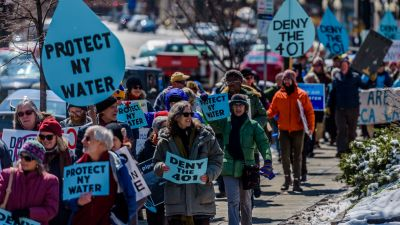 Groups rally to ask Gov. Cuomo to protect New York state water by denying required water quality certificate for Constitution Pipeline. (Photo by Eric McGregor/Pacific Press/LightRocket via Getty Images)