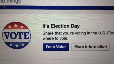 Facebook Election Day badge (Credit: Getty Images - Joey Kotfica / Contributor)