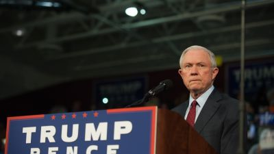 Attorney General-designate Jeff Sessions pledges his commitment to then-Republican presidential candidate Donald Trump on Oct. 10, 2016 in Ambridge, Pennsylvania. (Photo by Jeff Swensen/Getty Images)