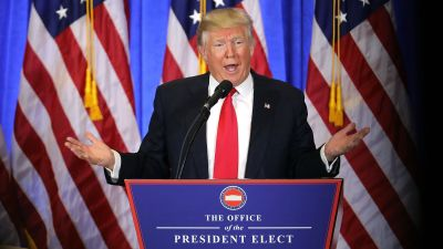 President-elect Donald Trump speaks at a news cenference at Trump Tower on Jan. 11, 2017 in New York City — his first official news conference since the November elections. (Photo by Spencer Platt/Getty Images)