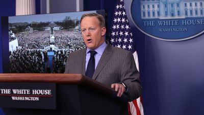 White House Press Secretary Sean Spicer makes a statement to members of the media at the James Brady Press Briefing Room of the White House Jan. 21, 2017 in Washington, DC. This was Spicer's first press conference as Press Secretary where he spoke about the media's reporting on the inauguration's crowd size. (Photo by Alex Wong/Getty Images)