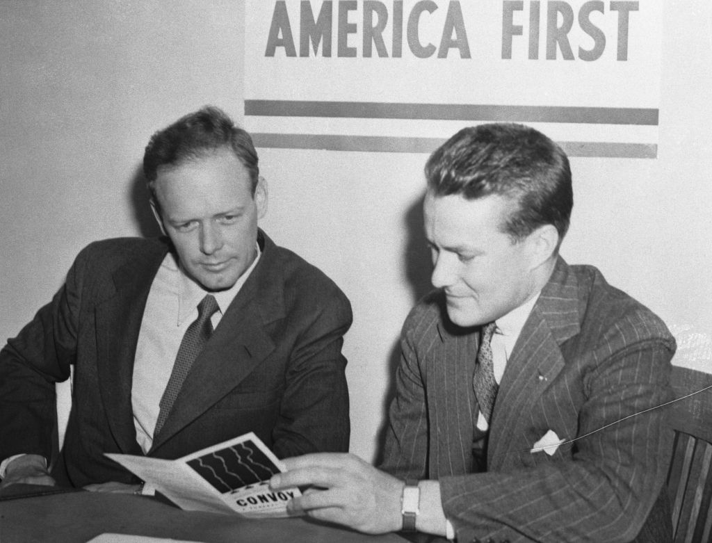 Col. Charles A. Lindbergh, (left), with R. Douglas Stuart, Jr., national director, when the flyer enrolled in Chicago as a member of the America First Committee. (Bettman)