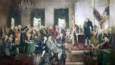 """""""The Signing of the Constitution of the United States,"""" with George Washington, Benjamin Franklin, and Thomas Jefferson at the Constitutional Convention of 1787; oil painting on canvas by Howard Chandler Christy, 1940. (Photo by GraphicaArtis/Getty Images)"""