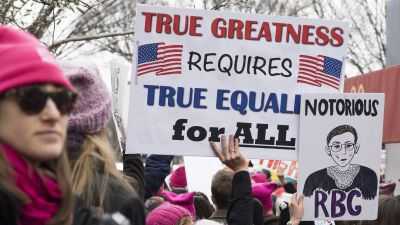 Demonstrators during the Women's March on Washington on Jan. 21, 2017. (Photo by Barbara Alper/Getty Images)